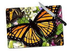 Butterfly Large Tempered Glass Cutting Board