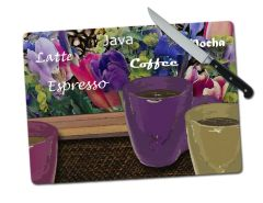 Coffee Floral Large Tempered Glass Cutting Board