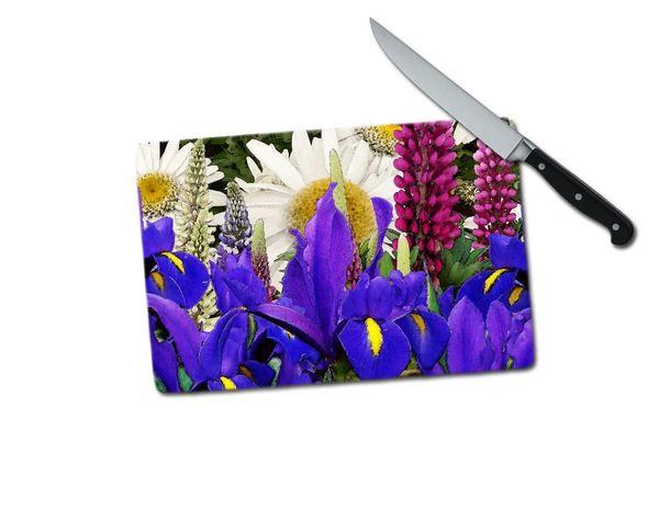 Iris Lupine Daisy Small Tempered Glass Cutting Board