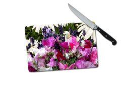 Sweet Pea Lavender Daisy Small Tempered Glass Cutting Board
