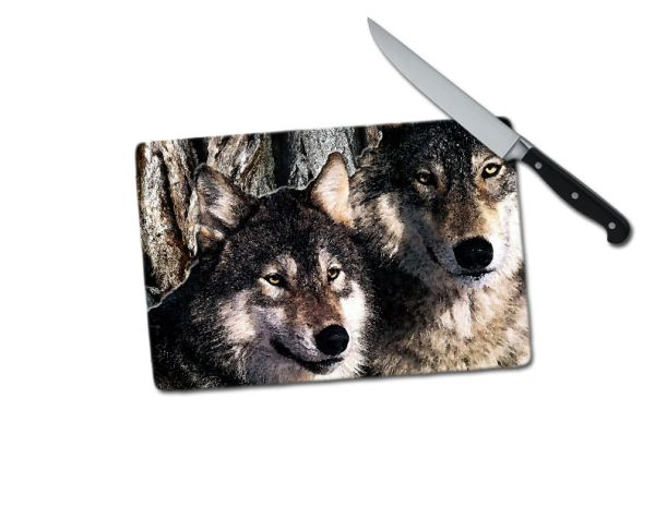 Wolves Small Tempered Glass Cutting Board