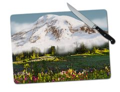Mount Rainier Mountain Large Tempered Glass Cutting Board