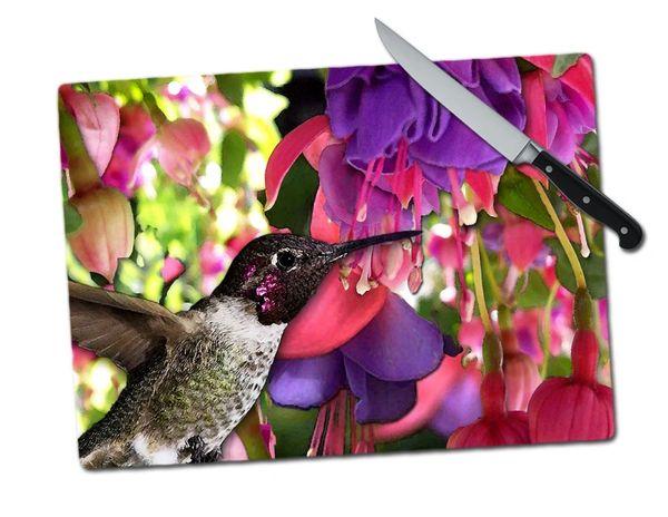 Hummingbird Large Tempered Glass Cutting Board