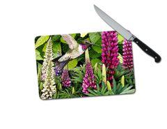 Lupine Hummingbird Small Tempered Glass Cutting Board