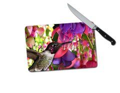 Hummingbird Small Tempered Glass Cutting Board
