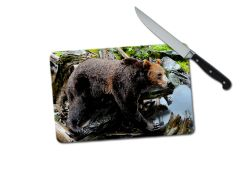 Bear Small Tempered Glass Cutting Board