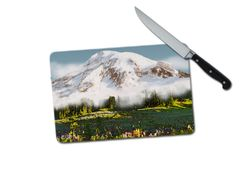 Mount Rainier Mountain Small Tempered Glass Cutting Board