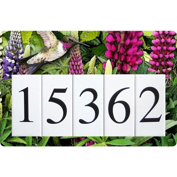 Lupine Hummingbird Humbird Address Sign Large