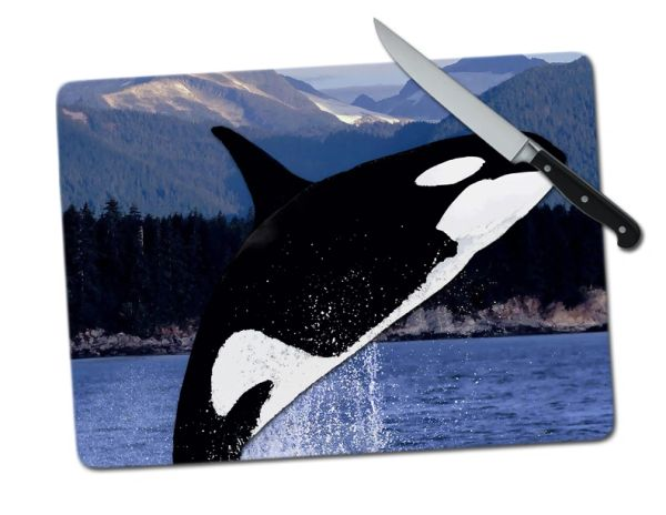 Orca Large Tempered Glass Cutting Board