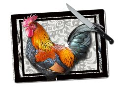 Rooster Large Tempered Glass Cutting Board