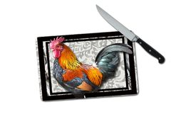 Rooster Small Tempered Glass Cutting Board
