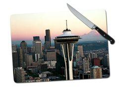 Seattle Skyline Large Tempered Glass Cutting Board