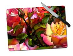 Roses Large Tempered Glass Cutting Board