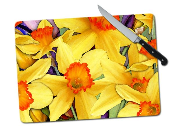 Daffodil Large Tempered Glass Cutting Board