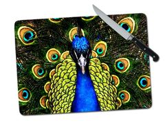 Peacock Large Tempered Glass Cutting Board