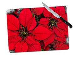 Poinsettia Large Tempered Glass Cutting Board