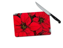Poinsettia Small Tempered Glass Cutting Board