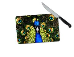 Peacock Small Tempered Glass Cutting Board