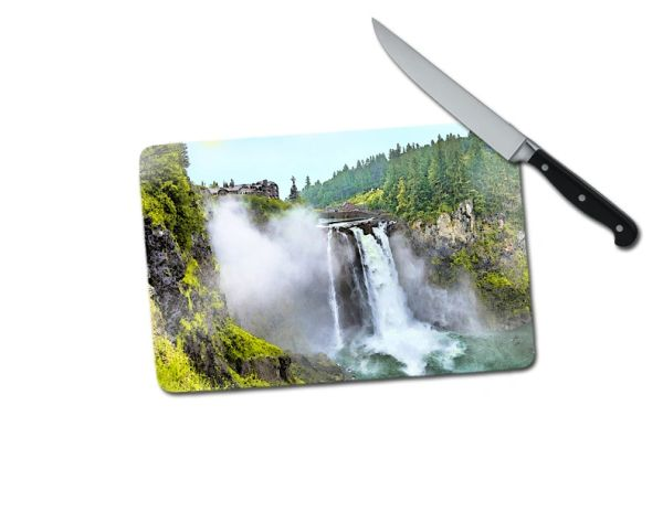 Snoqualmie Falls Washington Small Tempered Glass Cutting Board