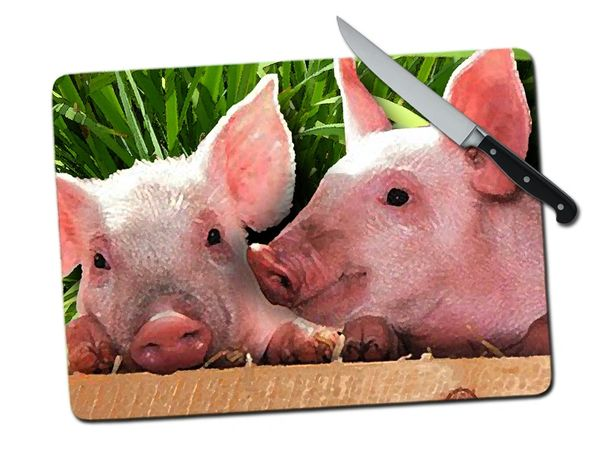 Pig Large Tempered Glass Cutting Board