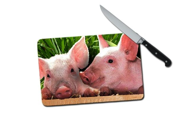 Pig Small Tempered Glass Cutting Board