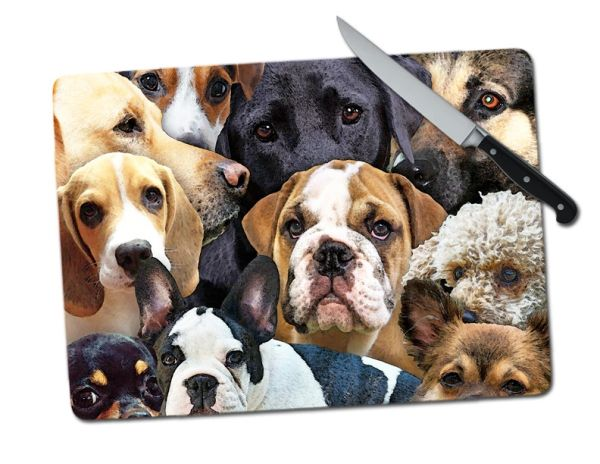 Dogs Large Tempered Glass Cutting Board