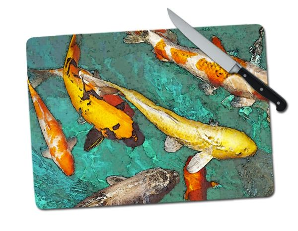 Koi Large Tempered Glass Cutting Board