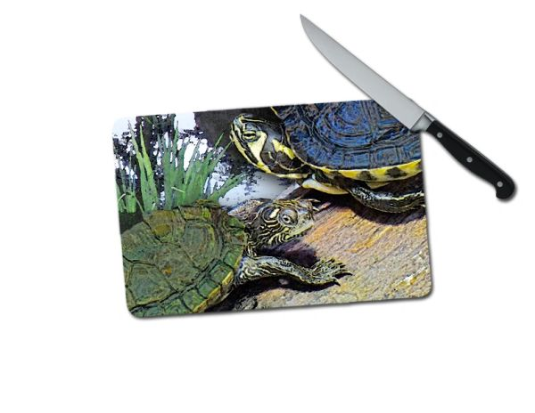 Turtles Small Tempered Glass Cutting Board