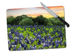 Bluebonnets Large Tempered Glass Cutting Board