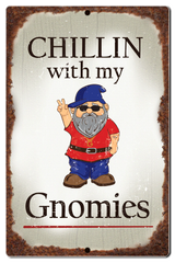 "Bayside Treasures Sign - Gnomes - 7.5"" x 11.5"" - Chillin with my Gnomies"