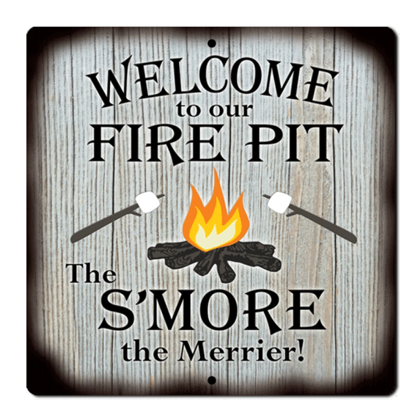 "Bayside Treasures Sign - Fire Pit - 11.5"" x 11.5"" - Fire Pit S'More"