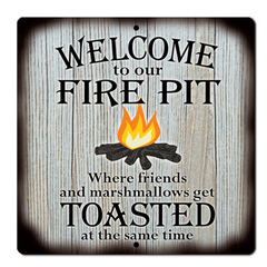 "Bayside Treasures Sign - Fire Pit - 11.5"" x 11.5"" - Fire Pit Toasted"