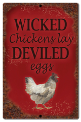 "Bayside Treasures Sign - Chickens - 7.5"" x 11.5"" - Wicked Chickens"