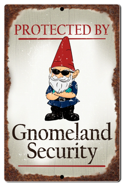 "Bayside Treasures Sign - Gnomes - 7.5"" x 11.5"" - Gnomeland Security"