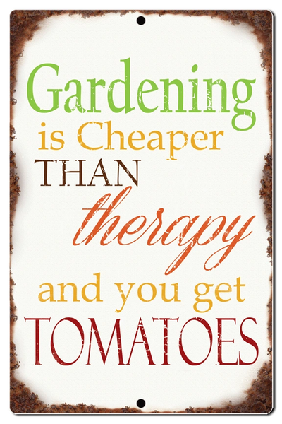 "Bayside Treasures Sign - 7.5"" x 11.5"" - Gardening Cheaper Than Therapy"