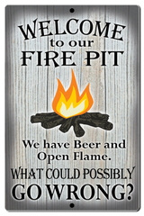 "Bayside Treasures Sign - Fire Pit - 7.5"" x 11.5"" - Fire Pit Beer Go Wrong"