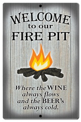 "Bayside Treasures Sign - Fire Pit - 7.5"" x 11.5"" - Fire Pit Wine and Beer"