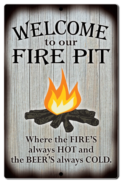 "Bayside Treasures Sign - Fire Pit - 7.5"" x 11.5"" - Fire Pit Beer Cold"