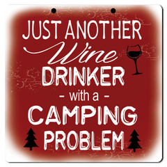 "Bayside Treasures Sign - Camping - 8"" x 8"" - Wine Drinker"