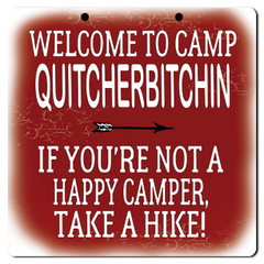 "Bayside Treasures Sign - Camping - 8"" x 8"" - Camp Quitcherbitchin"