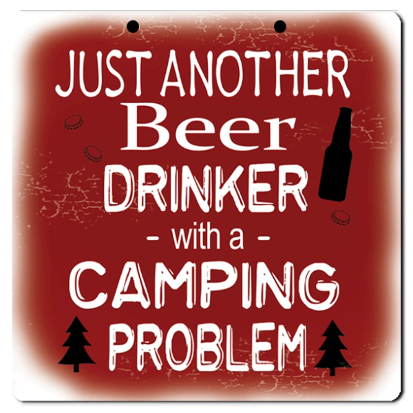 "Bayside Treasures Sign - Camping - 8"" x 8"" - Beer Drinker"