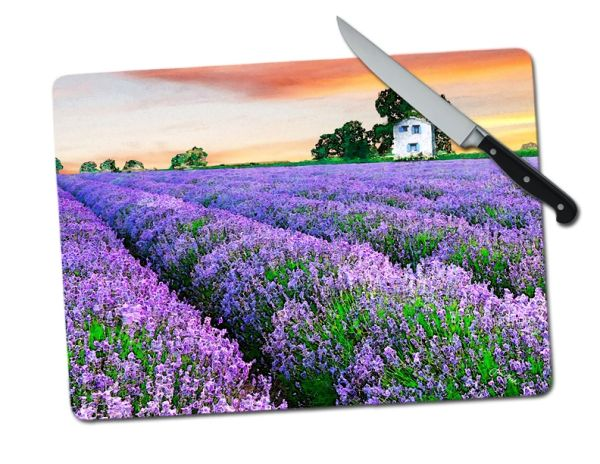 Lavender Field Large Tempered Glass Cutting Board