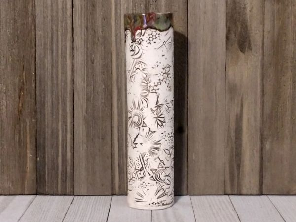 Hand Built Tall Pottery Vase - Abstract Garden