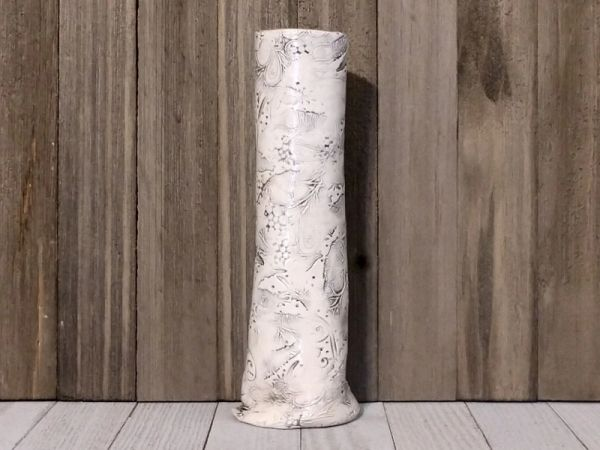 Hand Built Tall Pottery Vase - Feathers in Flight
