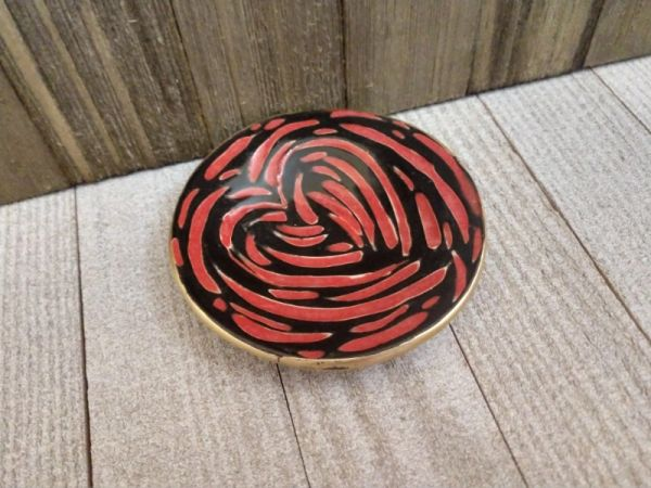 Hand Built Pottery Ring Dish Carved Red & Black Hearts 1