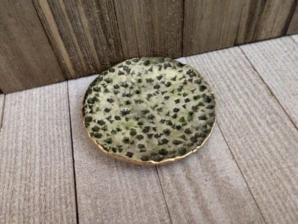 Hand Built Pottery Ring Dish Mossy Green