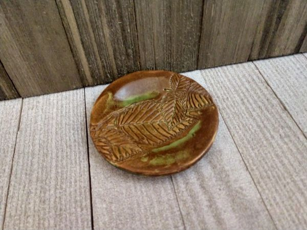 Hand Built Pottery Ring Dish Fall Leaves