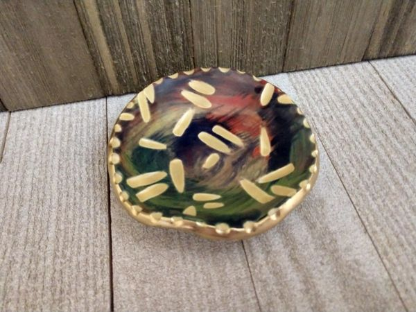 Hand Built Pottery Ring Dish Abstract Yellow Confetti Carvings