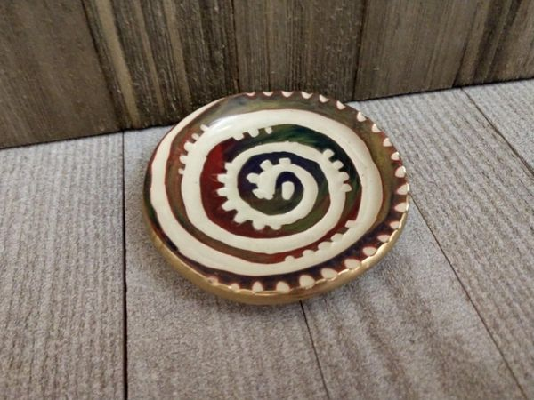 Hand Built Pottery Ring Dish Carved Aztec Swirl