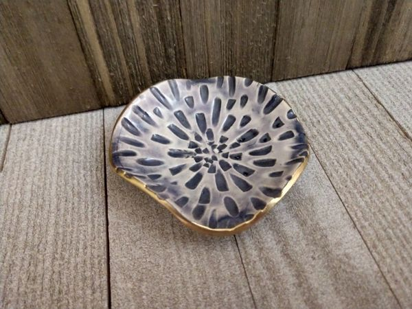 Hand Built Pottery Ring Dish Carved Lilac Grey Burst